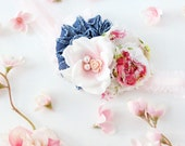 Pocket Full of Posies- chiffon flower, denim ruffle rosette and silk flower headband with lace