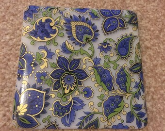 Printed Blue and Gold Paisley Coaster