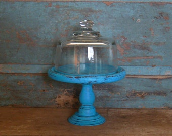 Pedestal Cloche Turquoise Distressed Wood Glass Dome