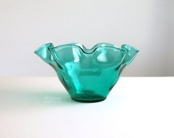 Blenko Glass 3716 Wavy Scalloped Sea Green Aqua Blue Vase Bowl by Wayne Husted