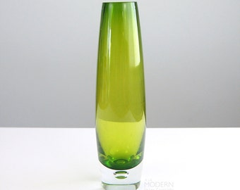 Scandinavian Green Cased Glass Vase With Bubble Inclusion