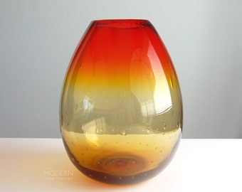 Vintage Blenko Glass Tangerine No. 6742 Controlled Bubble Egg Floor Vase by Joel Myers