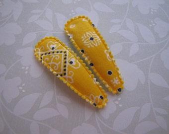 Yellow Bandana . snap clip pair . toddler hair accessory