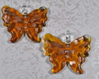 Glass butterfly pendants, 50x58mm, #801