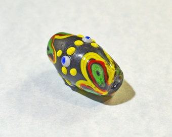 Lampwork glass focal bead, multicolor - #1249