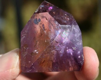 Ametrine Quartz Crystal Amethyst and Citrine Polished Crystal Specimen with Rainbow