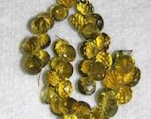 Beer Quartz, Faceted Briolette, Onion Briolette, Natural Stone, Semi Precious, Gold, Gemstone, Sparkle, 9-10mm, 12 briolettes