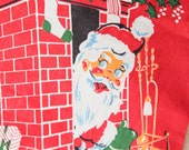 Vintage 1950's Christmas Stocking - BRIGHT Retro Santa Sock - Printed on Both sides - EXCELLENT CONDITION