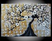 "Huge 24"" x 36"" Original Impasto Painting Flowering Bonsai Tree Amber Elizabeth Lamoreaux White Blossoms Heavy Texture Palette Knife Daisies"