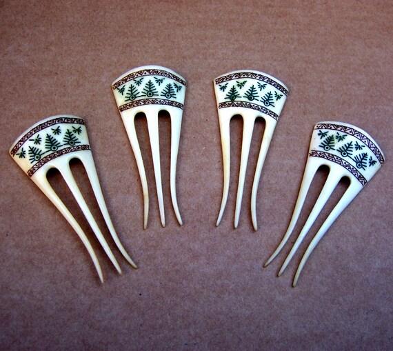 Carved bone hair combs pick fork