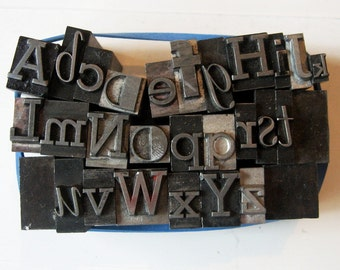 Mixed Alphabet A-Z Metal Letterpress Type Vintage Altered Art Home Decor Printing