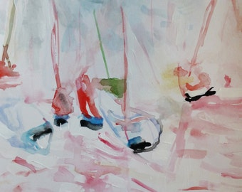 Sailor Chat- Original Painting- 11x15- Abstract Sailboats