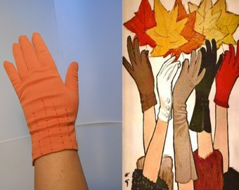Gathering Up Leaves - Vintage 1950s Pumpkin Orange Over the  Wrist Gloves - 7