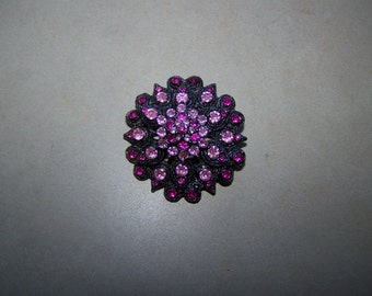 Pink Purple Layered Rhinestone Brooch