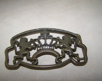 CLEARANCE Brass Crown Lions Royal Belt Buckle