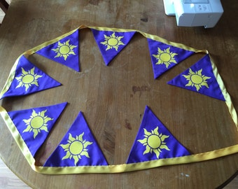 Disney's Tangled inspired, Rapunzel themed bunting featuring sun