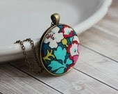 Colorful Necklace, Boho Jewelry, Floral Fabric Pendant, Funky Jewelry, Flower Print, Teal Necklace, Quirky Jewelry, Eclectic Necklace