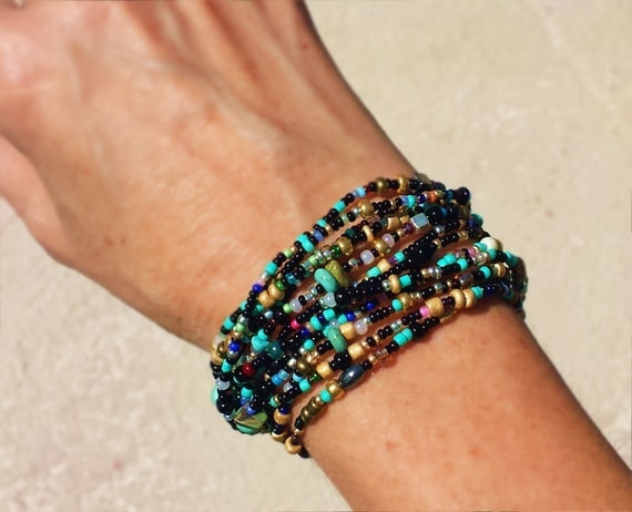Taos turquoise and black and sand long seed bead by for Turquoise jewelry taos new mexico