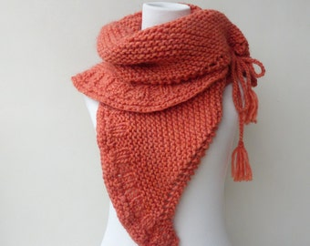 Coral shawl Orange hand knitted wrap Coral Knit Cape  Gift for her Chunky knit shawl wrap Knit scarf Coral Knit Hood