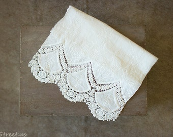 Ivory Wrap, Baby Lace Wrap, Baby Girl Wrap, Mesh, Vintage Baby Girl Prop, newborn Props, RTS, Embroidered Cotton Wrap, Baby Props