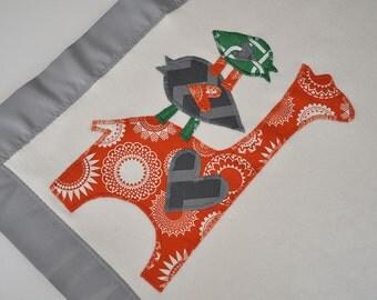 Organic Baby Blanket with Giraffe -- Gray and Orange