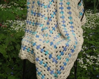 Vintage Turquoise Blue Forget Me Not Lavender Purple Cream Afghan Throw Blanket Nursery Baby
