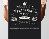 Personalised Prince Or Princess Name Text Poster Print. A3 420 x 297 mm - 16.5 x 11.7