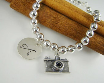 Camera Charm Bracelet, Personalized Photographer Gift Idea, Photographer Jewelry, Gift for Photographer, 925 Sterling Silver