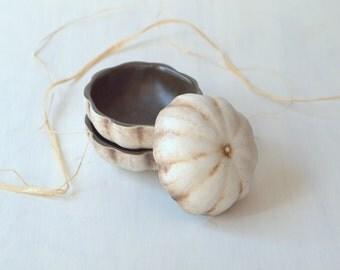 MADE TO ORDER  Prep bowls.  Set of three small handmade porcelain bowls.  Gourd design.