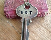 Key Necklace |  Custom Hand Stamped Vintage Key with Inspirational Word