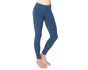 Organic Cotton Leggings - Yoga Leggings - Blue Leggings - Yoga Pants - Best Leggings - Eco Fashion - Indigo
