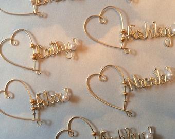 Valentines day, Wine Glass Charm, Personalized Wine Charm, Wedding Favor, Bridesmaid Wine Charms, Bridal Party Wine Charms, Champagne Charms