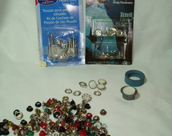 Vintage Heavy Duty Snap Kit Grommets Kit and Scovill Ginger Snaps.