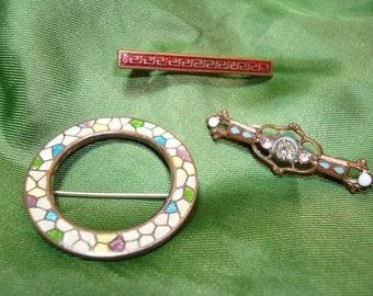 Victorian Era Enameled Cloisonne Bar pins.
