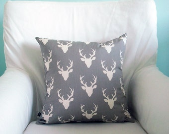 Pillow Cover- Grey and Cream Buck- Cushion Zippered Cover