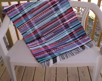 Cotton Multi-color Hand Woven Loomed Rag Rug