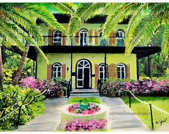 Key West Limited Edition Fine Art Giclee Painting Print by V.Ann - Hemmingway's House Florida 13 x 19