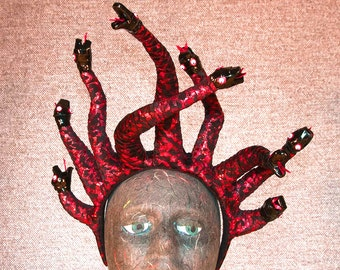 Red and Black Medusa Headband With Nine Snakes
