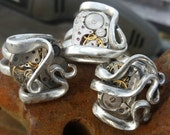 Silver plated fork ring with pocket watch