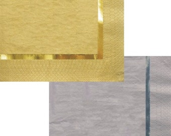 Silver or Gold Foil Trim Luncheon Napkins pack of 16