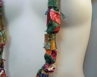 Handmade Fabric Necklace, Handmade Fabric Beaded Necklace, Long Beaded Fabric Necklace, Fiber Art Necklace, silk necklace, ribbon necklace