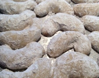 Kourabiedes, Greek Butter Cookies, Wedding Cookie, Edible Gift, Homemade Baked Goods, Crescents