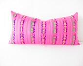 Mexican embroidered pillow, Tribal pillow, Mexican Blanket Pillow, Lumbar pillow, Pillowcase aztec, Boho room Decor, Cinco de Mayo Aztec