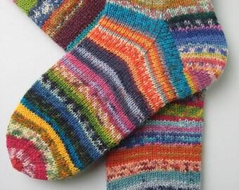 crazy socks, hand knitted womens wool socks, UK 4-6 US 6-8, fun wool socks, mismatched socks, bright striped socks, multicoloured socks