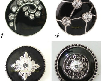 Snap Charms in black enamel work with all 18-20 mm snap jewelry including Ginger Snaps Jewelry