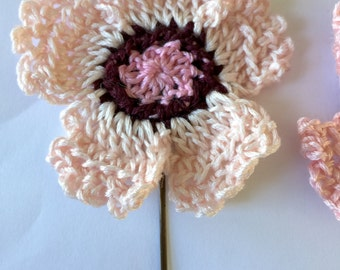 Old fashion pinks crocheted hair pins