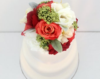 Silk flower cake top etsy wedding cake topper red coral cream rose lambs ear silk flower cake junglespirit Gallery
