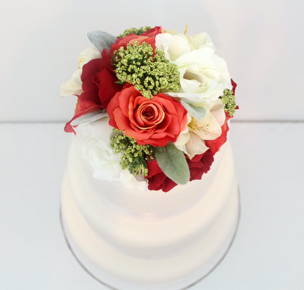 Silk Flower Wedding Cake Toppers: Wedding Cake Topper Red Coral Cream Rose Lambs Ear Silk