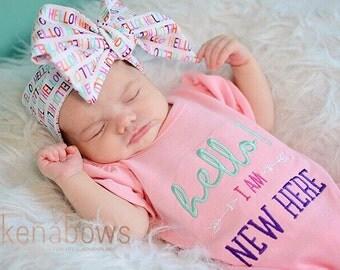 New Baby Girl Romper, Pink Newborn, Hello I'm New Here, Baby Headwrap, Hello Headband, big bow, Bring Baby Home, Shower Gift, Newborn Photos