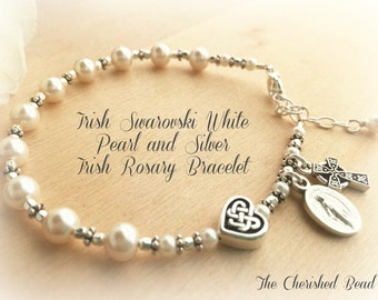 Irish Rosary Bracelet with Swarovski Pearls, Silver and Celtic Heart